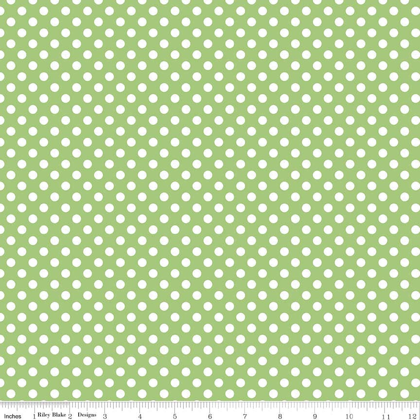 "SALE Green Small Dots 1/4"" by Riley Blake Designs - White on Green polka dots- Quilting Cotton Fabric - choose your cut"