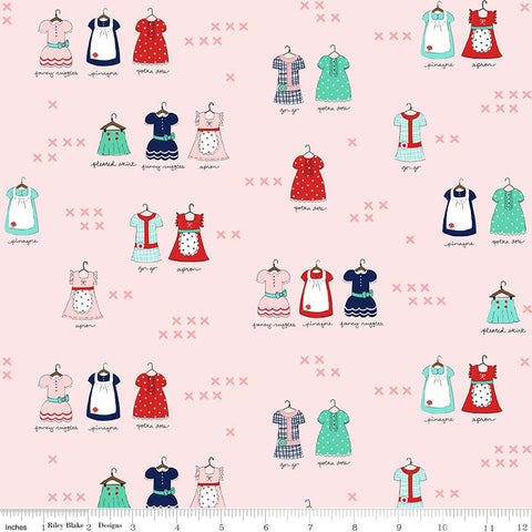 "SALE A Little Sweetness Main Pink - Riley Blake Designs - Aprons Clothes Dresses - Quilting Cotton Fabric - 1 yard 7"" end of bolt piece"