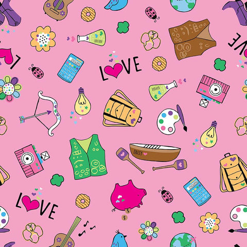 SALE Girl Scouts Main Pink - Riley Blake Designs - Camping Arts - Quilting Cotton Fabric - choose your cut