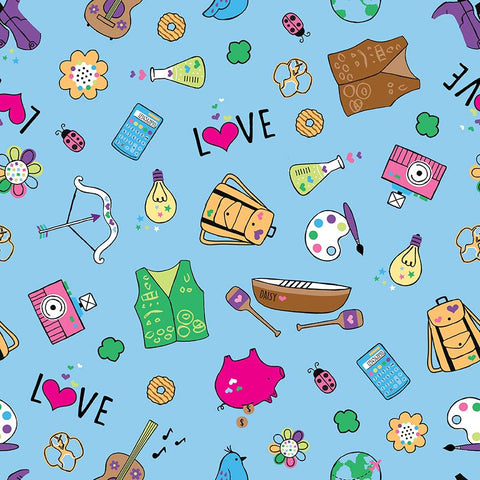 SALE Girl Scouts Main Blue - Riley Blake Designs - Camping Arts - Quilting Cotton Fabric - choose your cut