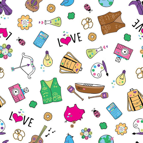 SALE Girl Scouts Main White - Riley Blake Designs - Camping Arts - Quilting Cotton Fabric - choose your cut