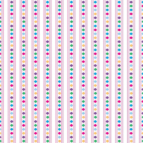 Girl Scouts Stripe White - Riley Blake Designs - Trefoil Multi - Quilting Cotton Fabric - choose your cut