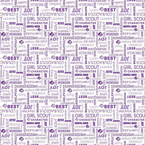 Girl Scouts Text White - Riley Blake Designs - Words Purple - Quilting Cotton Fabric - choose your cut