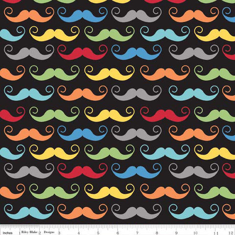 Fat Quarter Geekly Chic Moustache Hot Pink Quilting Fabric Riley Blake