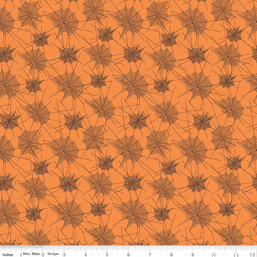 SALE Trick or Treat Webs Orange - Penny Rose Fabrics - Halloween Spider Webs Black - Quilting Cotton Fabric - fat quarter