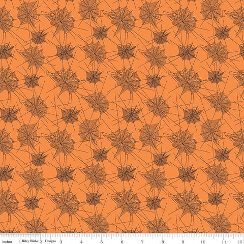 SALE Trick or Treat Webs Orange - Penny Rose Fabrics - Halloween Spider Webs Black - Quilting Cotton Fabric - choose your cut