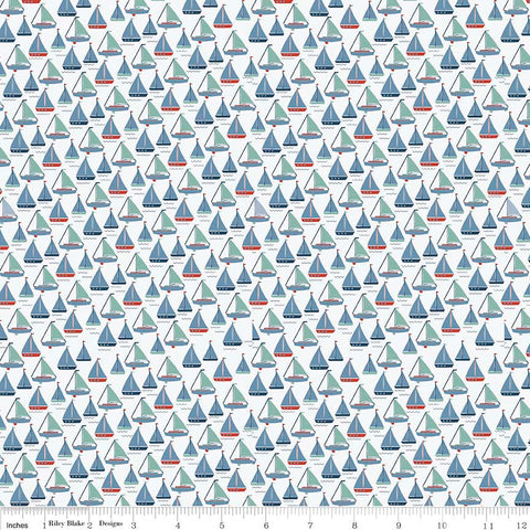 By the Sea Boats White - Riley Blake Designs - Ship Blue Ocean Nautical - Quilting Cotton Fabric - choose your cut