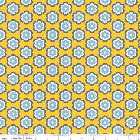 4cb1f1f09614 Vivid Leilani Marigold by Riley Blake Designs - yellow floral flowers - Jersey  KNIT cotton lycra