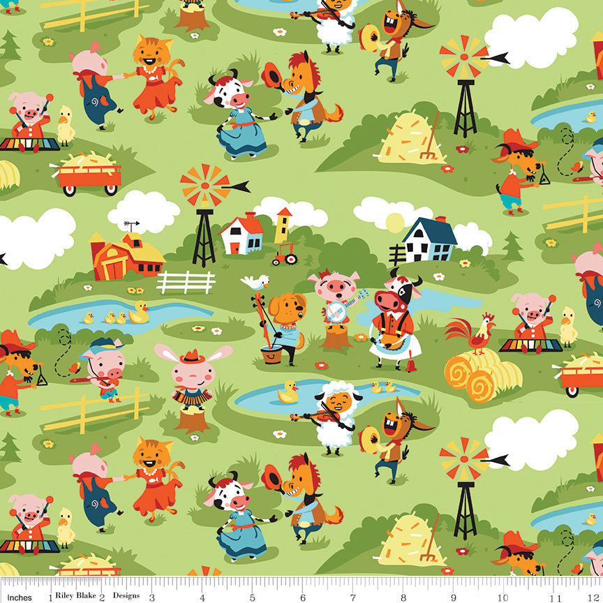 SALE Harmony Farm Main Green - Riley Blake Designs - Animals Pigs Cows Dogs Horses - Quilting Cotton Fabric - choose your cut