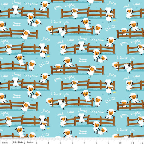 SALE Harmony Farm Sheep Dream Blue - Riley Blake Designs - Animals  - Quilting Cotton Fabric - choose your cut