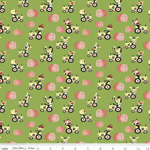 CLEARANCE Harmony Farm Happy Harvester Green - Riley Blake Designs - Animals Tractor Pigs Cows - Quilting Cotton Fabric