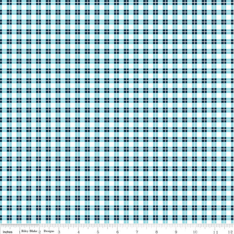 SALE Harmony Farm Plaid Blue - Riley Blake Designs - Checkers - Quilting Cotton Fabric - choose your cut