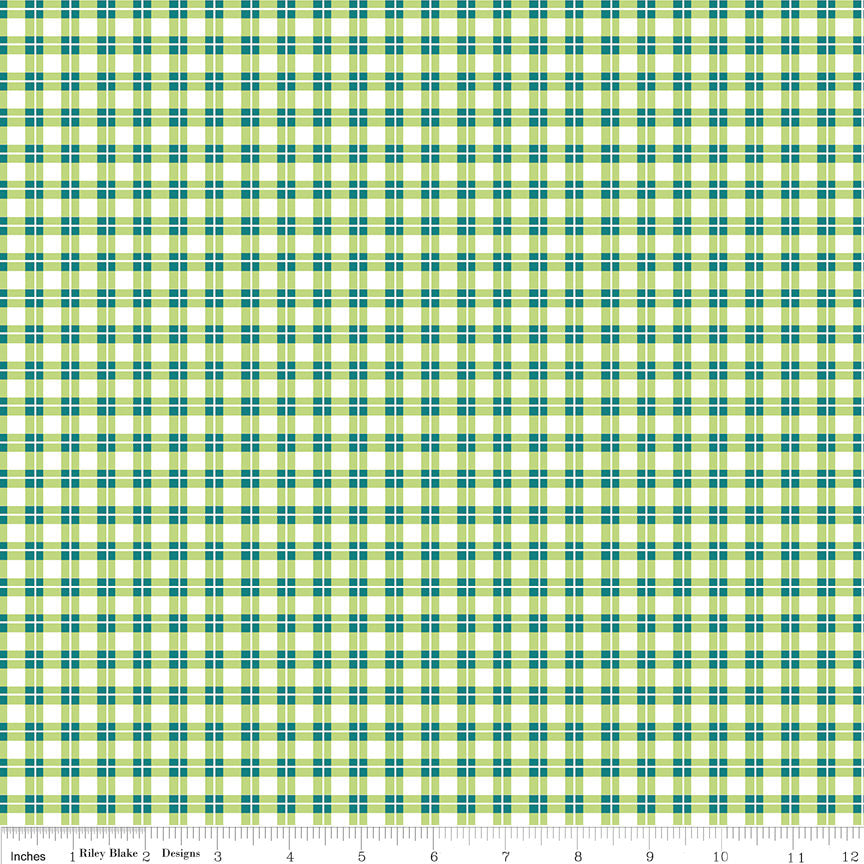 SALE Harmony Farm Plaid Green - Riley Blake Designs - Checkers - Quilting Cotton Fabric