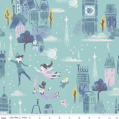 SALE Neverland Main Mint - Riley Blake Designs - Green Peter Pan Tinkerbell - Quilting Cotton Fabric - choose your cut