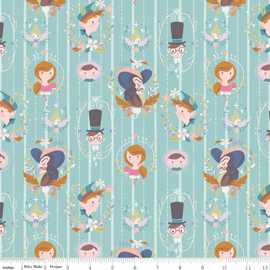 Neverland Darling Wall Mint - Riley Blake Designs - Green Peter Pan Tinkerbell - Quilting Cotton Fabric