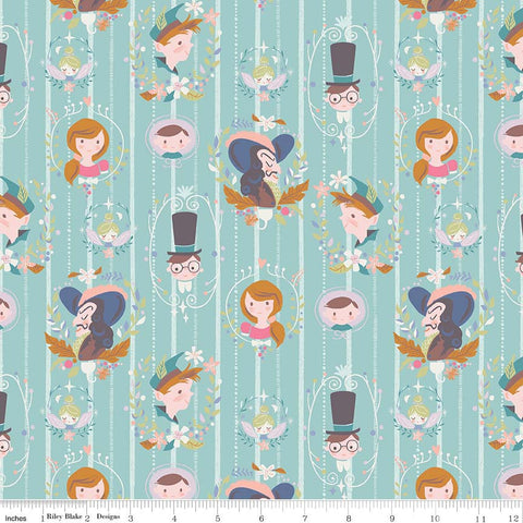 SALE Neverland Darling Wall Mint - Riley Blake Designs - Green Peter Pan Tinkerbell - Quilting Cotton Fabric - choose your cut