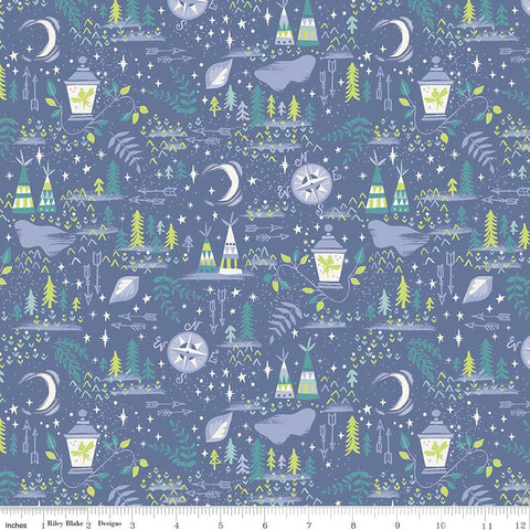 SALE Neverland Lantern Blue - Riley Blake Designs - Peter Pan Tinkerbell - Quilting Cotton Fabric - choose your cut