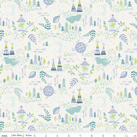 SALE Neverland Lantern Cream - Riley Blake Designs - Off white Peter Pan Tinkerbell - Quilting Cotton Fabric - choose your cut