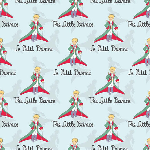 SALE The Little Prince Title Aqua - Riley Blake Designs - Boy Blue - Quilting Cotton Fabric