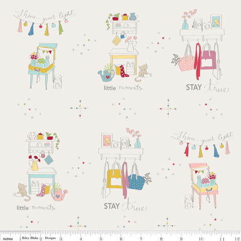 SALE Dear Diary Main Off White - Riley Blake Designs - Offwhite Cream Cats Clothes - Quilting Cotton Fabric
