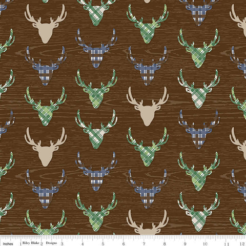 SALE The Great Outdoors Deer Brown - Riley Blake Designs - Deer Heads Antlers Hunting Wood Plaid - Quilting Cotton Fabric
