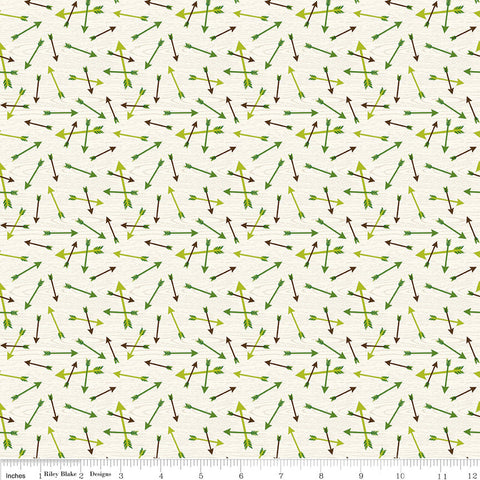 SALE The Great Outdoors Arrows Cream - Riley Blake Designs - Green Hunting - Quilting Cotton Fabric