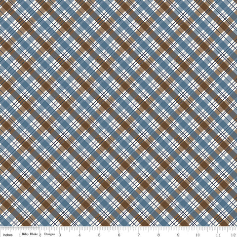 The Great Outdoors Plaid Brown - Riley Blake Designs - Blue - Quilting Cotton Fabric - fat quarter