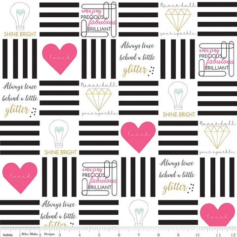 Shine Bright Main Black SPARKLE - Riley Blake Designs - Metallic Hearts Gold - Quilting Cotton Fabric - choose your cut