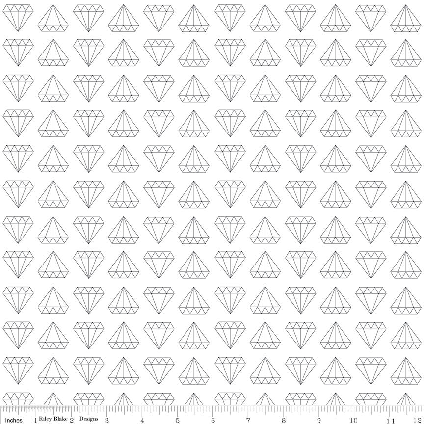 "Shine Bright Made to Sparkle White - Riley Blake Designs - Black Diamonds - Jersey KNIT cotton lycra stretch fabric - 1 yard 17"" end of bolt"