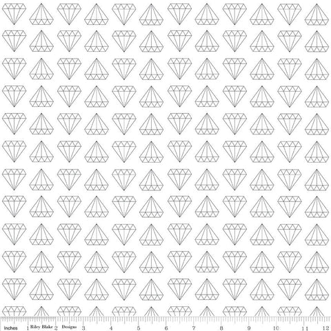 SALE Shine Bright Made to Sparkle White - Riley Blake Designs - Black Diamonds - Jersey KNIT cotton lycra stretch fabric - choose your cut