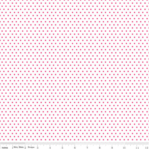 SALE Shine Bright Glitter Pink - Riley Blake Designs - White Polka Dots - Jersey KNIT cotton lycra stretch fabric - choose your cut