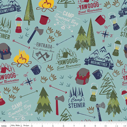 Modern Scouting Main Blue by Riley Blake Designs - Boy Scouts Camping - Quilting Cotton Fabric - choose your cut