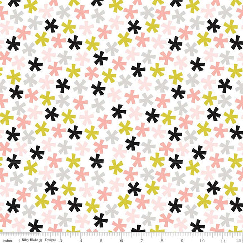 Meow Asterisk White - Riley Blake Designs - Black Pink Lime Gray - Quilting Cotton Fabric - choose your cut