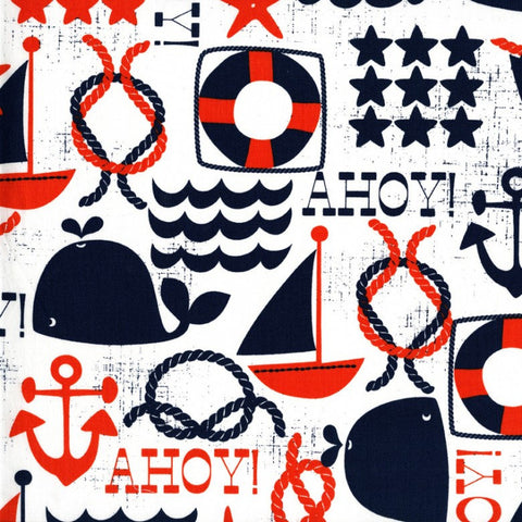 Ahoy Matey Navy by Michael Miller - Blue Red White Nautical Whales Anchors - Quilting Cotton Fabric - choose your cut