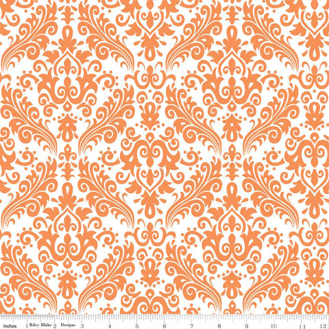 CLEARANCE Hollywood Medium Damask Orange on White - Riley Blake Designs - Quilting Cotton Fabric - by the yard
