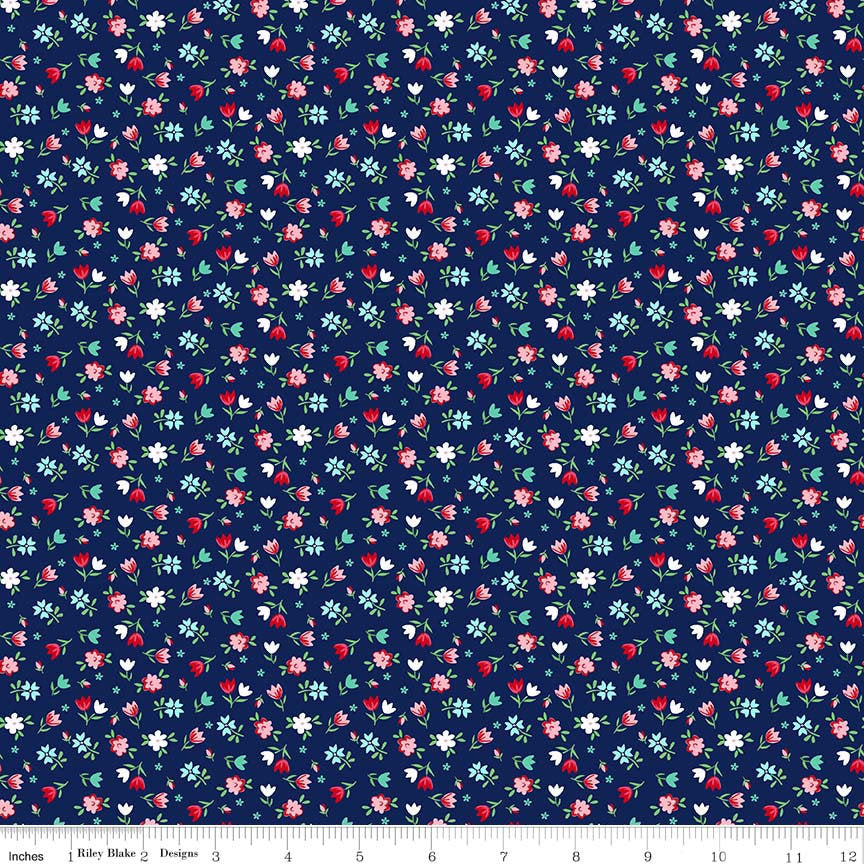 SALE A Little Sweetness Floral Navy - Riley Blake Designs - Blue Flowers - Jersey KNIT cotton lycra stretch fabric - choose your cut