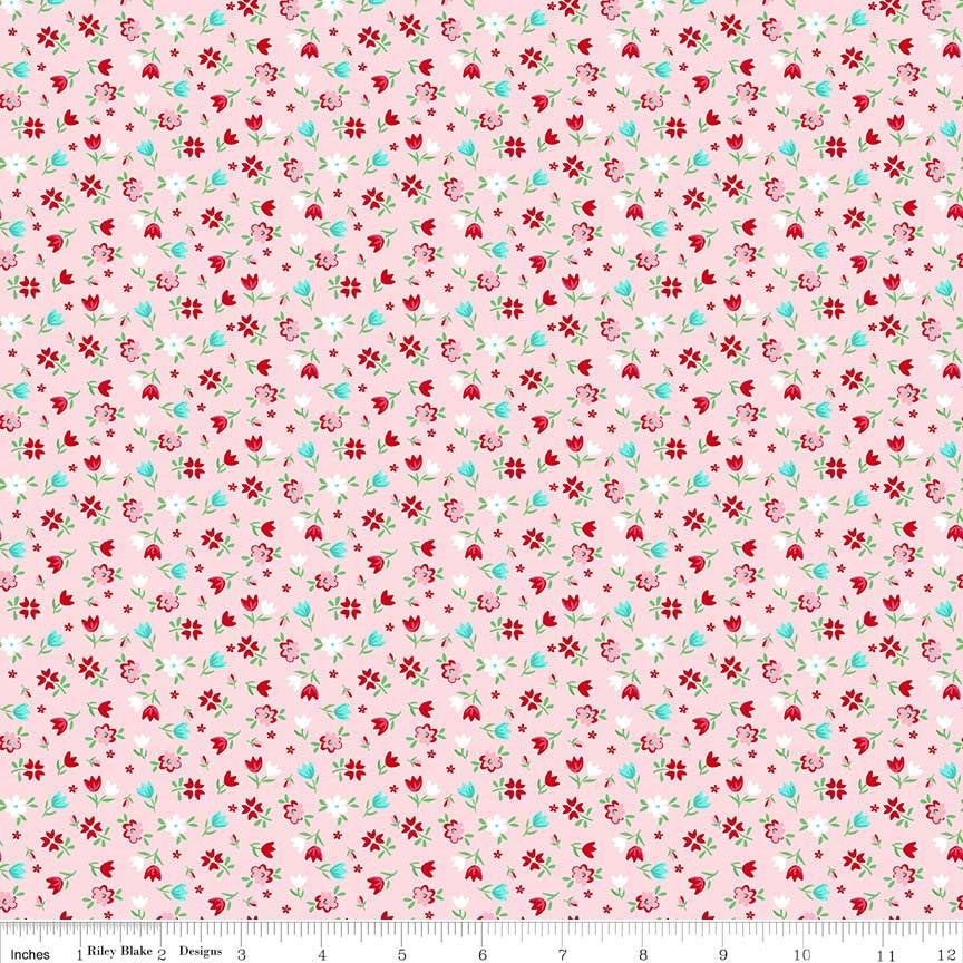 SALE A Little Sweetness Floral Pink - Riley Blake Designs - Flowers - Jersey KNIT cotton lycra stretch fabric - choose your cut
