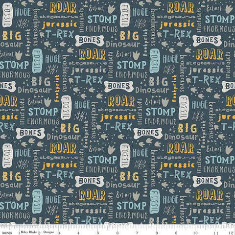 SALE Fossil Rim Words Navy - Riley Blake Designs - Blue Dinosaur Text - Jersey KNIT cotton lycra stretch fabric