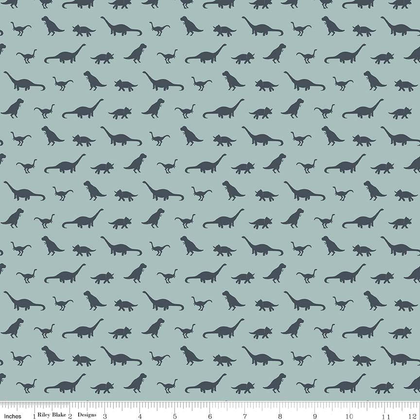 Fossil Rim Tiny Dino Blue - Riley Blake Designs - Dinosaurs  - Jersey KNIT cotton lycra stretch fabric - choose your cut