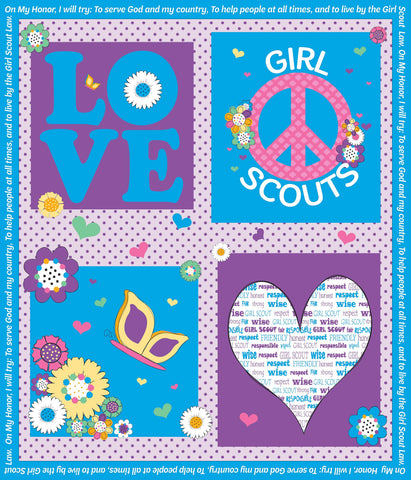 SALE Girl Scouts Panel Blue - Riley Blake Designs - Quilting Cotton Fabric