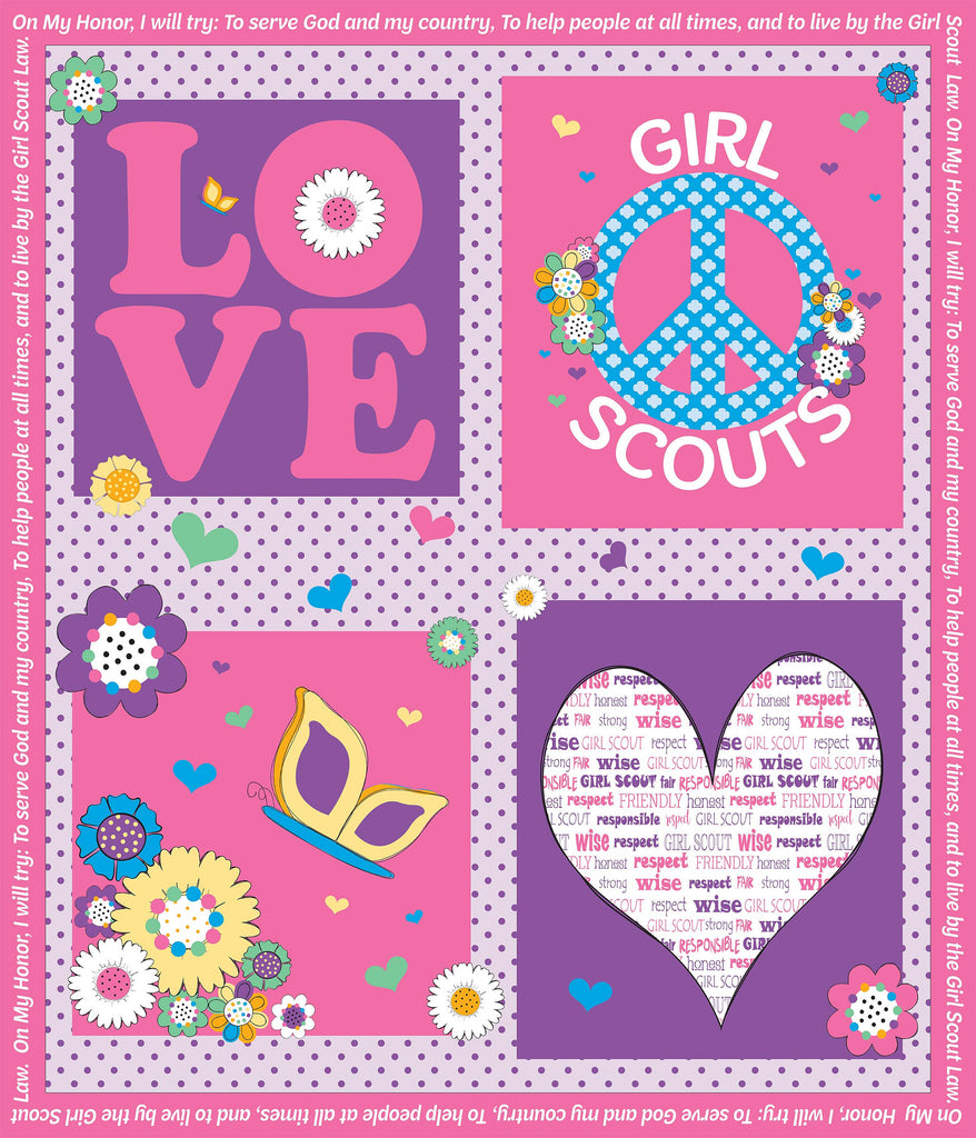 CLEARANCE Girl Scouts Panel Pink - Riley Blake Designs - Quilting Cotton Fabric