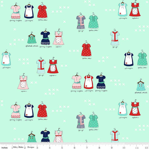 CLEARANCE A Little Sweetness Main Mint - Riley Blake Designs - Green Aprons Clothes Dresses - Quilting Cotton Fabric - by the yard
