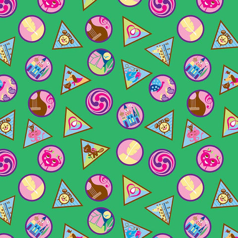 SALE Girl Scouts Badges Green - Riley Blake Designs - Patches - Quilting Cotton Fabric - choose your cut