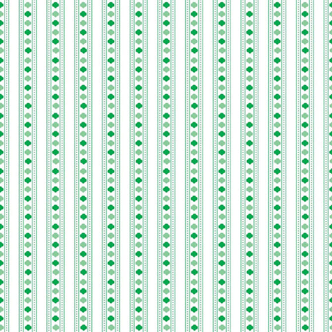 SALE Girl Scouts Stripe Green - Riley Blake Designs - Trefoil White - Quilting Cotton Fabric - choose your cut