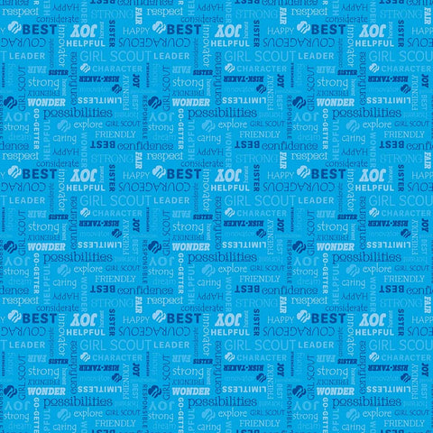 SALE Girl Scouts Text  Blue - Riley Blake Designs - Words - Quilting Cotton Fabric - choose your cut