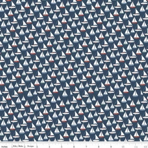 By the Sea Boat Navy - Riley Blake Designs - Blue Sailing Ship Ocean Water Nautical - Quilting Cotton Fabric - choose your cut
