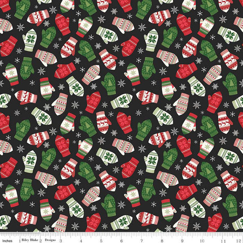 Comfort and Joy Mittens Black by Riley Blake Designs - Christmas Holiday - Quilting Cotton Fabric - choose your cut