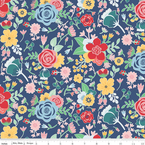 Midnight Blooms Main Navy - Riley Blake Designs - Blue Floral Flowers - Quilting Cotton Fabric - end of bolt pieces
