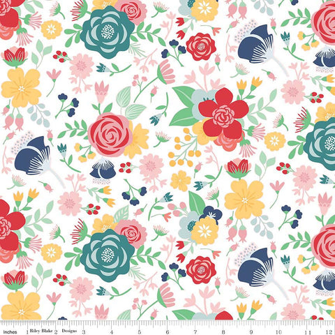 Midnight Blooms Main White - Riley Blake Designs - Floral Flowers - Quilting Cotton Fabric - choose your cut