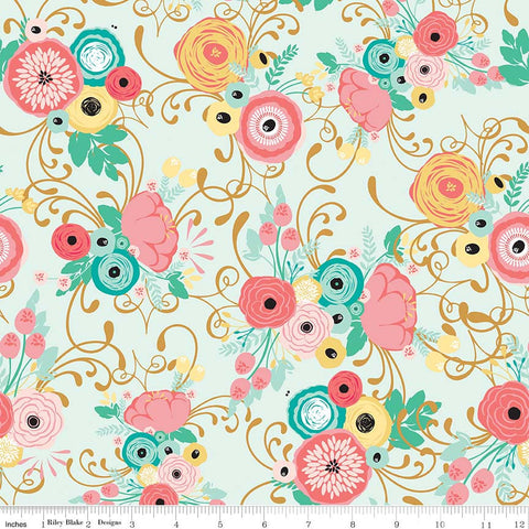 Just Sayin' Main Mint SPARKLE - Riley Blake Designs - Floral Gold Metallic Green - Quilting Cotton Fabric - choose your cut